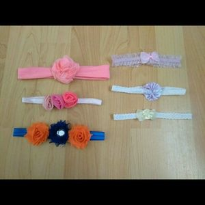 LOT OF 6 VARIETY HEADBANDS FOR BABY - 0-6 MONTHS